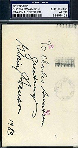 GLORIA SWANSON SIGNED GPC GOVT POSTCARD PSA/DNA AUTOGRAPH
