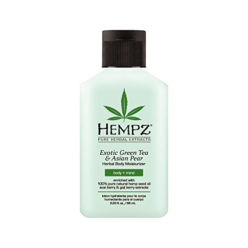 Exotic, Natural Herbal Body Moisturizer with Pure Hemp Seed Oil, Green Tea and Asian Pear, 2.25 Fluid Ounce - Pure, Nourishing Vegan Skin Lotion for Dryness and Flaking with Acai and Goji Berry