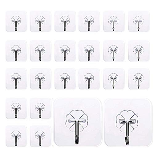 Mocy Adhesive Hooks Wall Hooks, 24 Pack Clear Hooks Strong Sticky Plastic Rotating Wall Hangers, 30lb(Max) Reusable Heavy Duty Thickening Wall Hook for Kitchen Towel Bath