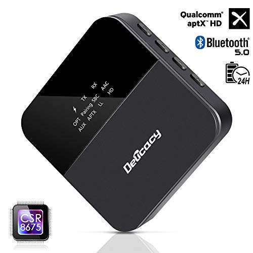 Delicacy Bluetooth 5.0 Transmitter Receiver, Upgraded 2-in-1 Wireless aptX HD Low Latency Bluetooth Audio 3.5mm & Optical Adapter for TV Laptop Stereo Headphone Speaker