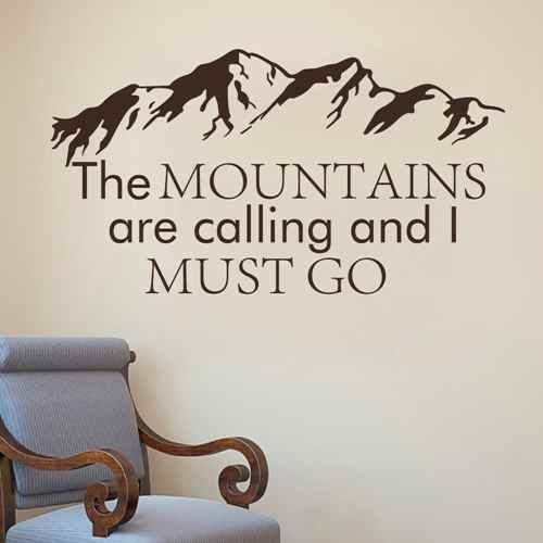 Mountain Wall Decal The Mountains Are Calling And I Must Go John Muir Quotes Forest Rustic Wall Decor Bedroom Nursery Wall Art(White,m) Review