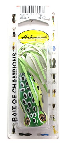 [Arbogast Hula Popper Fishing Lure-2 in-Leopard Frog - Chartreuse/White Skirt] (Fish Hula Popper)