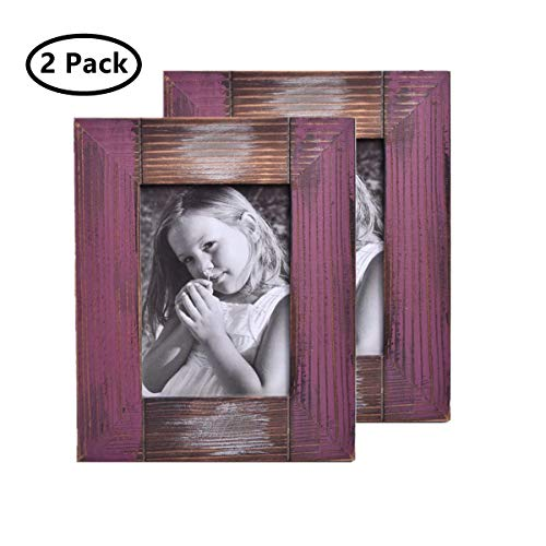 MUAMAX Rustic Farmhouse 5 x 7 Picture Frame Weathered Shabby Chic Distressed Weathered Reclaimed Wood Photo Frame Table/Wall Mount Display, Purple Red]()