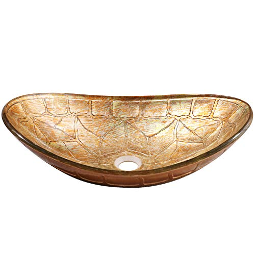 (Enbol EGS-L0082 Unique Oval Tortoise Shell Pattern Artistic Tempered Glass Bathroom Above Counter Vessel Vanity Sink Bowl Top Wash Basin Combo with Mounting Ring and Pop up Drain)