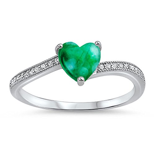 Sterling Silver Genuine Green (925 Sterling Silver Cabochon Natural Genuine Green Malachite Heart Promise Ring Size 5)