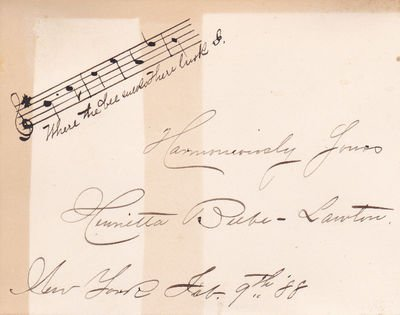 AUTOGRAPH MUSICAL QUOTATION SIGNED BY AMERICAN SINGER HENRIETTA BEEBE LAWTON.