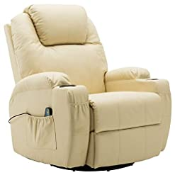 Living Room Mcombo Manual Swivel Glider Rocker Recliner Chair with Massage and Heat, 2 Side Pockets, 2 Cup Holders, Durable Faux…