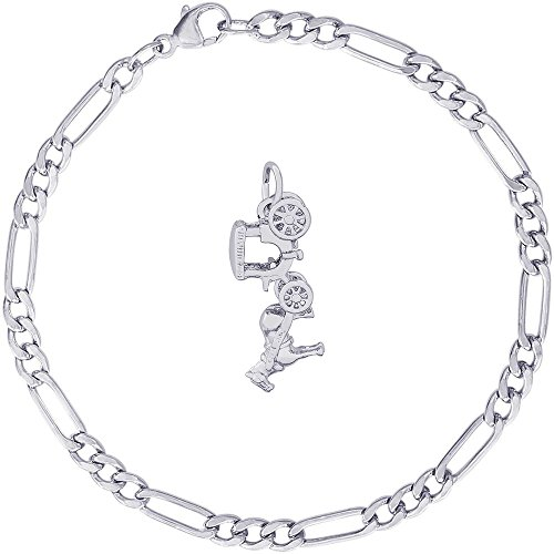 Rembrandt Charms Sterling Silver Horse and Carriage Charm on a Classic Figaro Bracelet, 8