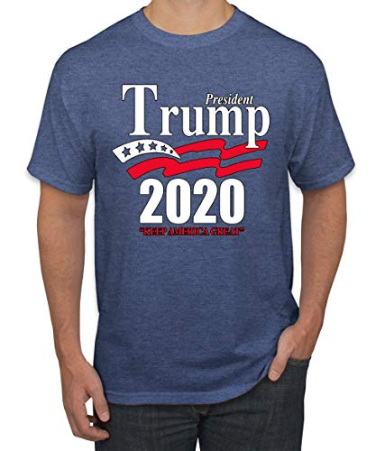 Trump 2020 Shirt Keep America Great T-Shirt Reelect President Donald Trump Mens Womens Non-PC Tee, Vintage Heather Blue, X-Large