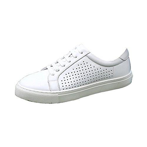 Unisex-Erwachsene Sneakers Sportschuhe Turnschuhe Laufschuhe Basketballschuh aus Leder Freizeit T Weiß