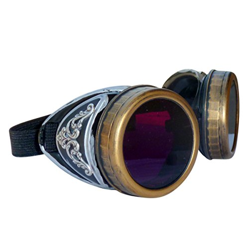 Steampunk GogGLes VicTORian Novelty Glasses cosplay Antique filigree S3 (Lila 0)