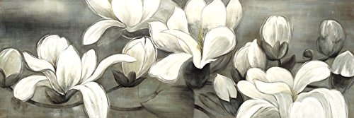 Wieco Art - Magnolia Modern Wrapped Floral Artwork Giclee Canvas Prints White and Grey Flowers Pictures Paintings on Canvas Wall Art Ready to Hang for Living Room Bedroom Home Decorations 48x16 (Framed Grey Art)