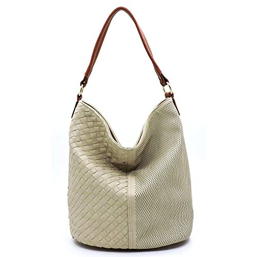 Vegan Faux Leather Woven and Perforated Shoulder Hobo Bags With Crossbody Strap (Beige/Brown)