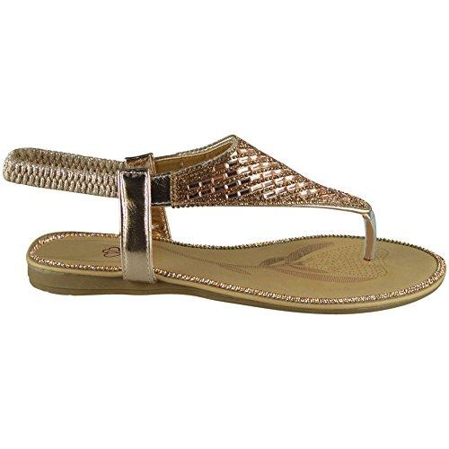 8 Zapatos con Sandalias de Diamante para talla 3 punta Flats verano Zapatos Champange mujer Bar T elástica vzZpp4Hq