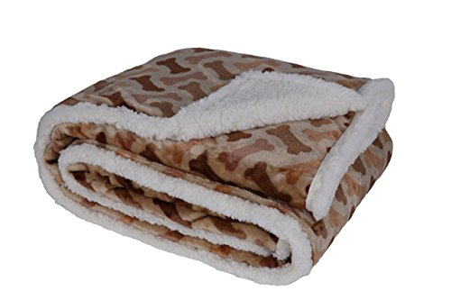 Longrich Flannel Dog Bone Print & Ultra Soft Sherpa Throw Blanket, 60