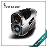 Golf Laser Range Finder by Golf Space - Rangefinder Binoculars Power Device With High Precision. Measuring Distance Slope Angle and Flag Lock. Hunting Binocular Rangefinders. Battery Included