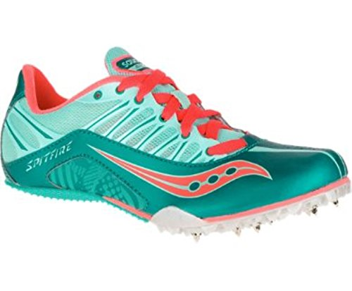 Saucony Women's Spitfire Spike Shoe, Teal/Coral, 9 M US For Sale