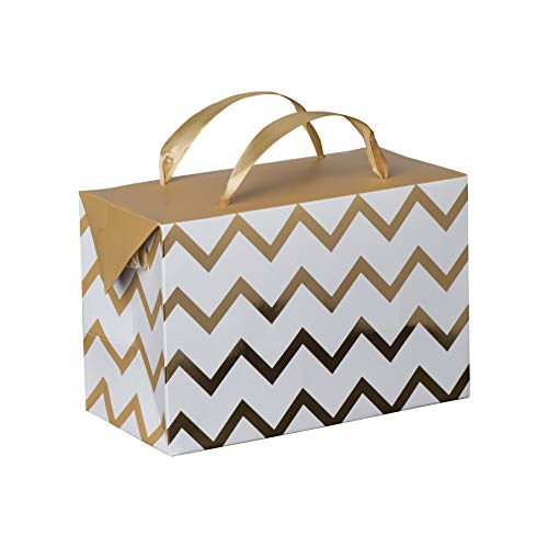 Gold Chevron Paper Gift Bag Box-Foldable Party Favors Treat Bags with Ribbon Handles for Baby Shower, Holiday and Birthday Parties 7