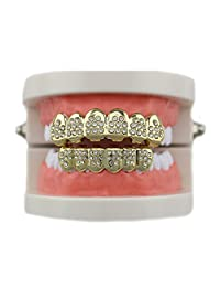 MTRSUE 18K Gold Plated CZ Vampire Hip Hop Teeth Bottom Grill Set
