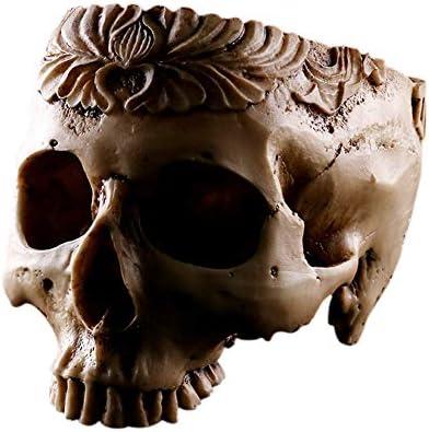 Adarl Artificial Resin Skull Head Flower Pot, Multifunctional as Halloween Skull Candy Bowl, Indoor Plant Holder Desk Ornaments,A3