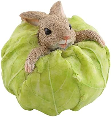 Top Collection Miniature Fairy Garden and Terrarium Rabbit Stuck in Cabbage Statue