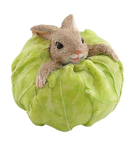 Collection Rabbit - Top Collection Miniature Fairy Garden and Terrarium Rabbit Stuck in Cabbage Statue