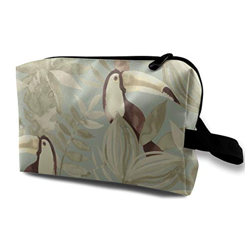 Bird Flower Cosmetic Bags Makeup Organizer Bag Pouch Zipper Purse Handbag Clutch Bag