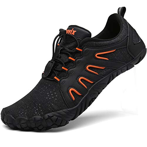 Voovix Unisex Trail Running Minimalist Barefoot Shoes Athletic Walking Shoes for Hiking Cross Training(Black/Orange,45)