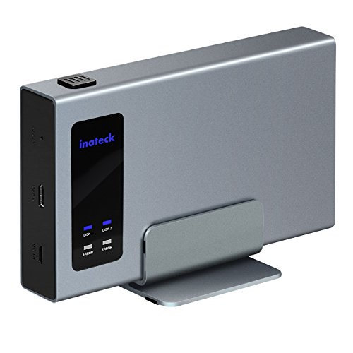 Inateck Aluminum USB-C RAID HDD Enclosure Dual Bay with a Portable Stand for 2x 2.5' SATA SSD/HDD Hard Drive Enclosure - USB 3.1 Gen 2 Type C Port with 10 Gbps Superspeed (FE2101)