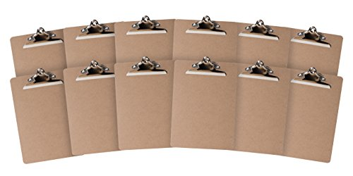 12 Hardboard Clipboards Classic Metal Clip Design for Classroom and Office use 12 Clipboards