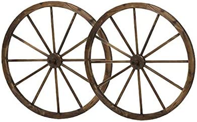 36 In Steel Rimmed Wooden Wagon Wheels Decorative Wall Decor Set Of Two Product Sku Pl50020
