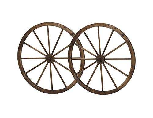 36 in Steel-rimmed Wooden Wagon Wheels - Decorative Wall Decor, Set of Two Product SKU: ()