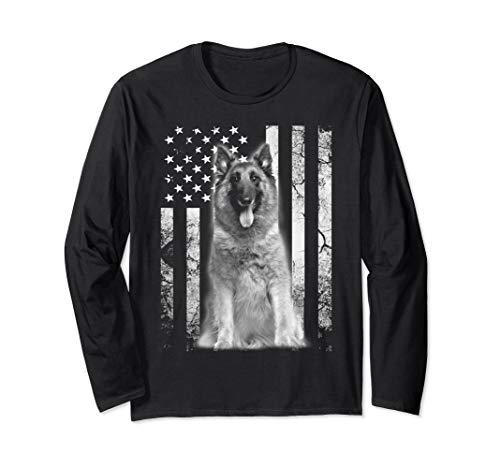 BELGIAN SHEEPDOG 4th of July America Dog Flag Patriotic Long Sleeve T-Shirt