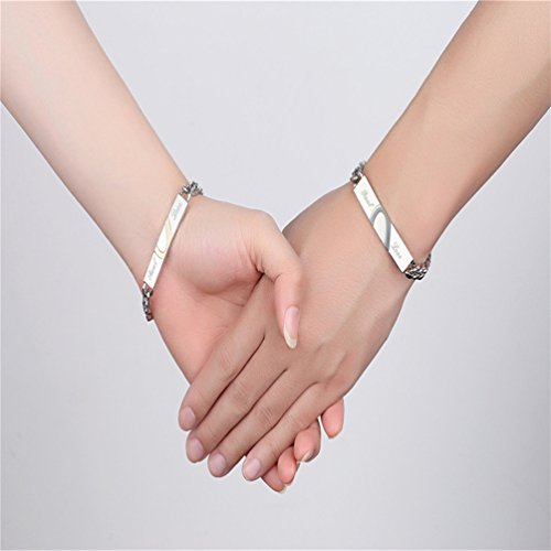 XIAOLI Real Love Stainless Steel Couple Bracelets For Women Men Jewelry Matching Set (Style 1) by XIAOLI (Image #5)'
