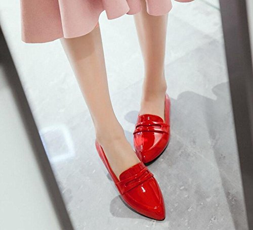 Shoes Lacquered Sandals Toe Pumps Ankle Court Flat Strap Red GLTER Shoes Closed Pointed Women's pZ7wAqZxU