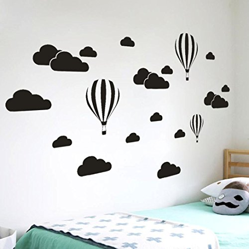 Price comparison product image Lowprofile DIY Large Clouds Balloon Wall Decals Children's Room Home Decoration Art (Black)