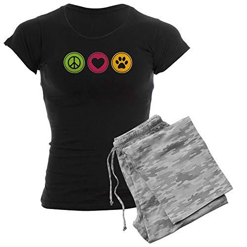 CafePress Peace Love Dogs Womens Novelty Cotton Pajama Set, Comfortable PJ Sleepwear