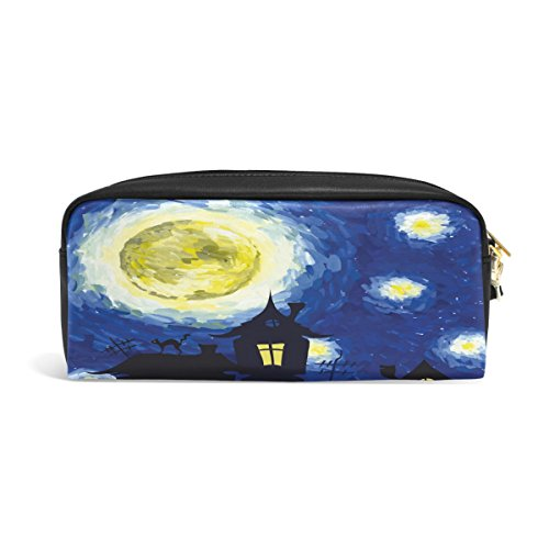 MMStyle PU Leather Pen Pencil Cosmetic Case Magic Castle Starry Night Inn Style Of Halloween Makeup Travel School Bag Pouch