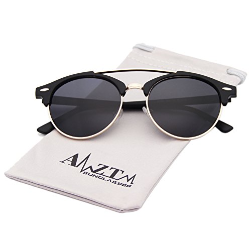 AMZTM Classic Retro Aviator Men Sunglasses Double Bridge Semi-Rimless Polarized Round Driving Glasses (Frosted Black Frame Black-Grey Lens, - Black Frame Frosted Glass