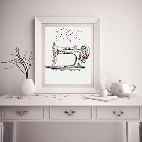 Illustrated by Poster Soul - Watercolor Sewing Machine Poster Art Prints Sewers Gift Wall Decor Artworks Wall Art Quilters Decor Home Decor Wall Hanging from Poster Soul