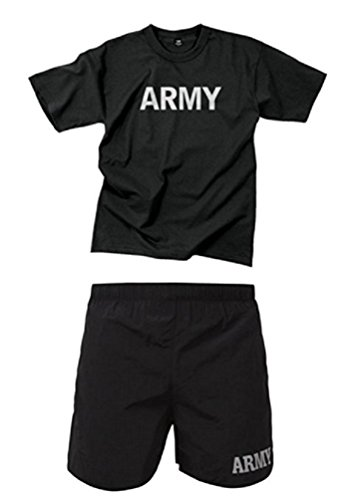 "RTC Adult PT ""Army"" Black With Reflective Grey Physical Training Shirt & Shorts Set (S Top M Bottom)"