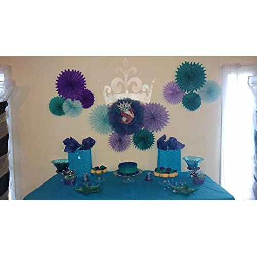 30OFF Mermaid Baby Shower Decorations Aqua Blue Teal Purple Tissue Paper Fan Summer