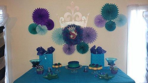 Mermaid Baby Shower Decorations Aqua Blue Teal Purple Tissue Paper Fan Summer Party Beach