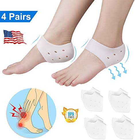 Heel Cups, Plantar Fasciitis Inserts, Breathable Heel Pads Cushion, Gel Heel Protectors for Men & Women, Idea for Plantar Fasciitis, Heel Pain, Heal Dry Cracked Heels, Achilles Tendinitis (4 Pairs)