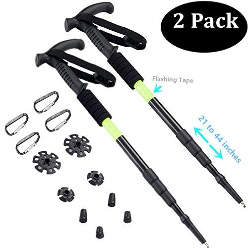 BAOCHI Hiking Trekking Poles Walking Sticks Telescoping Ultra Strong Anti Shock(1 Pair) Black
