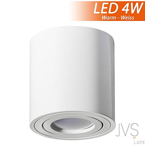 MILANO GU10 230V LED mit 4W LED (300lm) Warmweiß [rund, weiss, schwenkbar] Aufbauleuchte Deckenlampe Würfelleuchte Aluminium Spot