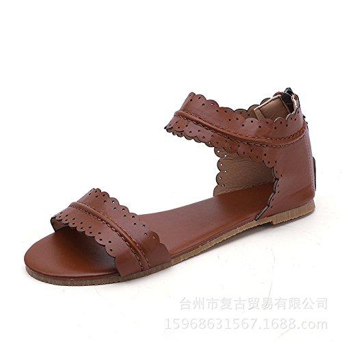 Donyyyy Sandalias calzados femeninos de fondo plano retro boca de pescado sandalias femenino Thirty-seven