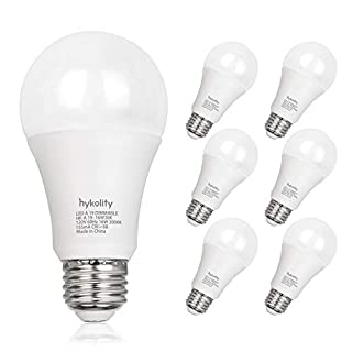 Dimmable 100W Equivalent A19 LED Light Bulb, 1600 Lumens, 16W, 5000K Daylight, E26 Medium Base, UL Listed (6 Pack)