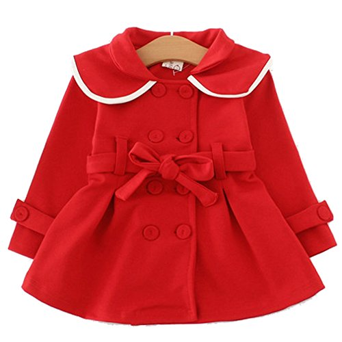 YYA Baby Girls Long Sleeve Outwear Windbreaker Coat (6-12Months, Red) -