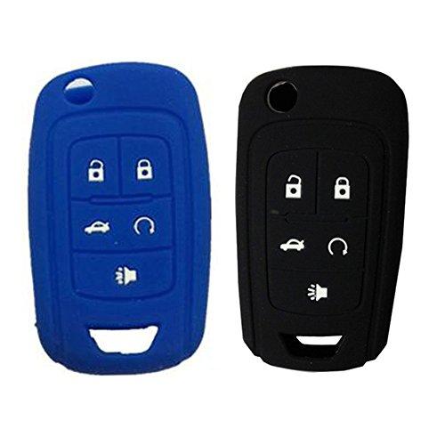 kemani Lots 2pcs carcasa de silicona Holder Fit para Chevrolet Flip Key Case Fob Shell de 5botones Replacement (Azul + Negro)